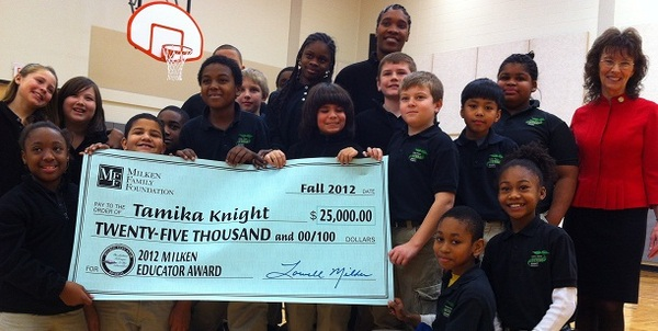 Milken Awards_ Tamika Knight and her Students with check for VR Newsletter Front Page